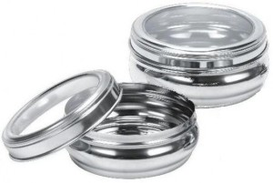 Dynore Set Of 2 Belly Poori Dabba  - 3000 ml Stainless Steel Food Storage