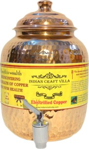 Indian Craft Villa  - 1.5 L Copper Multi-purpose Storage Container