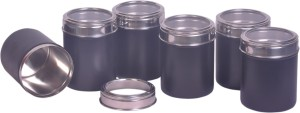 Dynore Set of 6 See through Black canisters  - 750 ml Stainless Steel Food Storage