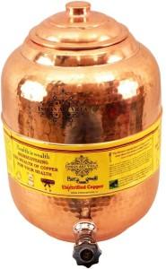 IndianArtVilla Water Dispenser Pot Tank  - 6.5 L Copper Multi-purpose Storage Container
