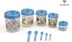 Sunshine Prince Mini 5 Piece Floral Printed Set  - 1750 ml Plastic Food Storage