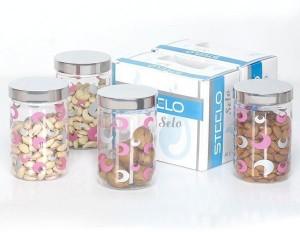 Steelo 4 Pieces PET - Selo  - 800 ml Plastic Food Storage