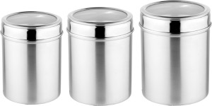Mosaic Canister See Through Set of 3  - 700 ml, 930 ml, 1270 ml Stainless Steel Tea, Coffee & Sugar Container