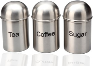 Bhalaria Tea, Coffee and Sugar Jar Set Canisters  - 750 ml Stainless Steel Food Storage