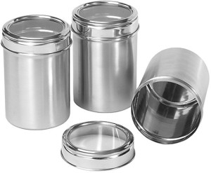 Dynore Canisters With See Through Lid - Set Of 3 - Sixe 9, 10, 11  - 500 ml, 750 ml, 1000 ml Stainless Steel Multi-purpose Storage Container
