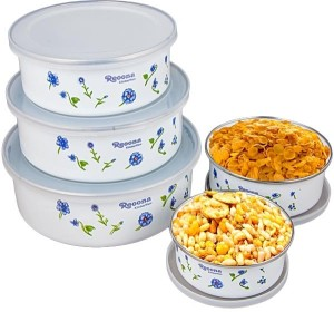 Aditya Info 5 pcs container set  - 1000 ml Steel Food Storage