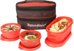 Signoraware Healthy Lunch Box (With Bag)  - 500 ml, 200 ml Plastic Food Storage