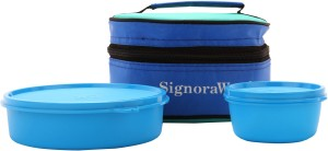 Signoraware Classic Lunch Box (With Bag)  - 800 ml, 140 ml Plastic Food Storage