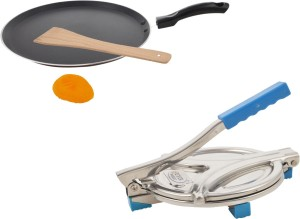 Buyer non stick dosa tawa with steel puri press Cookware Set