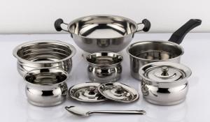 Mahavir 10pc Induction Base Cook N Serve Set Cookware Set