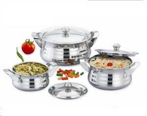 Mahavir 3pc Stainless Steel Cook & Serve Silver Touch Model Cookware Set