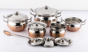 Mahavir Stainless Steel Design Copper Cook N Serve Set Cookware Set