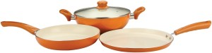 Nirlon Reinforced 4 layer Ceramic induction range Kadhai, Tawa, Pan Set