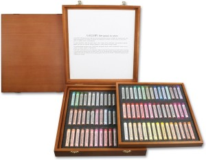 Mungyo Round Shaped Gallery Artists' Extra Fine Soft Pastels - Wooden Box Full size Washable Crayons