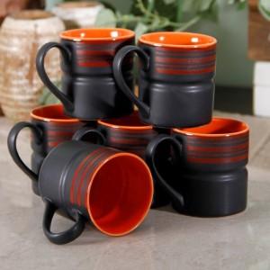 Unravel India Matt work Black Coffee Mug Set