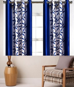 Zesture Polyester Multicolor Printed Eyelet Window Curtain