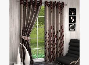 MN Decor Cotton Brown Abstract Eyelet Door Curtain