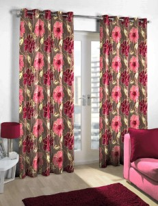Skipper Polyester Maroon Floral Eyelet Door Curtain