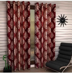 RS Quality Polyester Red Floral Curtain Door