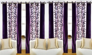 New Ladies Zone Polyester Purple Floral Curtain Door Curtain