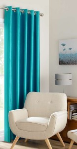 ad8c64d99ddb Achintya Polyester Blue Plain Eyelet Window Curtain 152 cm in Height ...