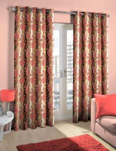 Skipper Polyester Pink/Brown Floral Eyelet Door Curtain