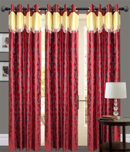 New Ladies Zone Polyester Red Floral Eyelet Door Curtain