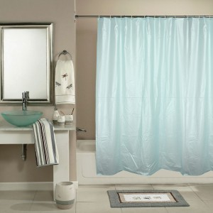 Katwa Clasic PVC Blue Self Design Curtain Shower