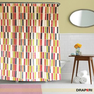 Draperi Ethylene Vinyl Acetate Multicolor Striped Ring Rod Shower Curtain