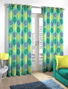 Skipper Polyester Green Printed Eyelet Door Curtain