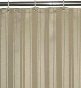 Lushomes Polyester Beige Striped Eyelet Shower Curtain200 Cm In Height Single Curtain
