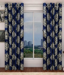 Zesture Polyester Blue Damask Eyelet Door Curtain