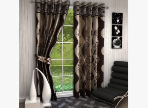 MN Decor Cotton Brown Abstract Eyelet Door Curtain