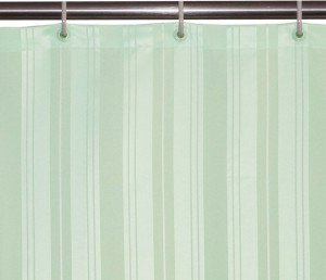 Lushomes Polyester Light Green Striped Eyelet Shower Curtain200 Cm In Height Single Curtain