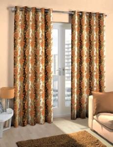 Skipper Polyester Brown Floral Eyelet Door Curtain