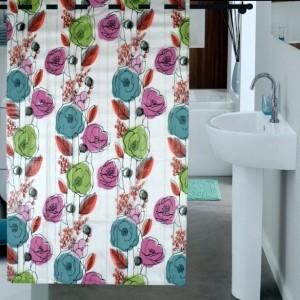 Enfin Homes PVC Multicolor Floral Ring Rod Shower Curtain
