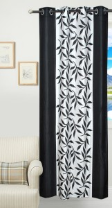 3e09a185be16 Achintya Polyester Black Floral Eyelet Window Curtain 152 cm in ...