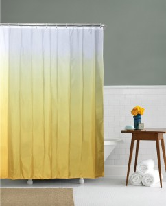 Home Ethylene Vinyl Acetate Yellow Abstract Eyelet Shower Curtain