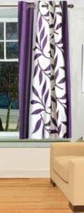 Red Hot Polyester Purple Floral Eyelet Window Curtain
