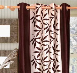 2b59c2af4d00 Achintya Polyester Brown Floral Eyelet Long Door Curtain274 cm in Height