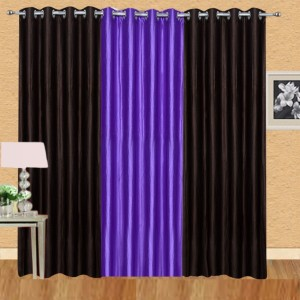Ville Style Polyester Brown, Purple Solid Eyelet Window Curtain