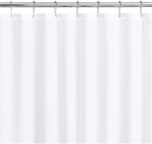 Linenwalas Satin White Plain Shower Curtain200 Cm In Height Single Curtain