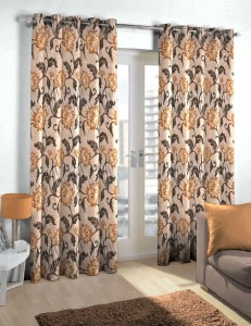 Skipper Polyester Brown Floral Eyelet Door Curtain