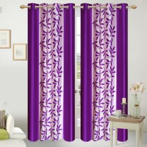 Shopaholic Polyester Purple Floral Eyelet Long Door Curtain