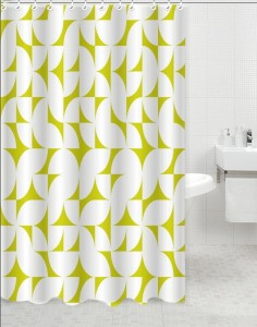 Skipper Furnishings PVC Lime Green Geometric Ring Rod Shower Curtain