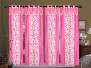 New Ladies Zone Polyester Pink Floral Curtain Window Curtain