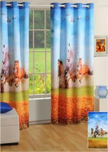 Swayam Silk Blue Orange Green Floral Eyelet Door Curtain