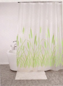Linenwalas PVC Reed Floral Eyelet Shower Curtain