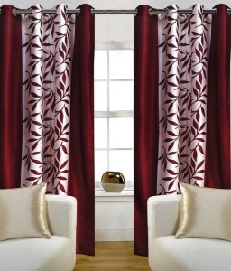 Optimistic Home Furnishing Polyester Maroon Floral Eyelet Door Curtain