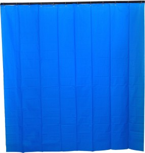 Draperi PVC Shower Curtain 180 Cm (6 Ft) Single Curtain ( Solid Electric  Blue